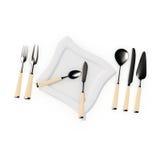 Mit Platte, knifes, Löffeln u. Gabeln einstellen Lizenzfreies Stockbild