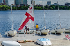 MIT Sailing Pavilion - Cambridge, MA. Since 1935, the MIT sailing pavilion has been where thousands in the Boston area have learned and perfected sailing and Royalty Free Stock Image