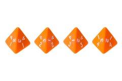 Mit Seiten versehene Würfel der Orange vier für Brettspiele Stockbilder