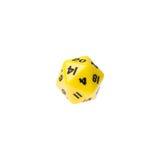 Mit Seiten versehene Würfel des Gelbs zwanzig für Brettspiele Stockfoto