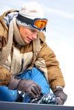Mit Snowboard Lizenzfreie Stockfotos