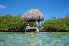 Mit Stroh gedeckte Hütte über Wasser mit Hängematte Stockbilder