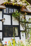 Mit Stroh gedecktes Schwarzweiss-Häuschen in Cheshire Countryside nahe Alderley-Rand Stockfoto