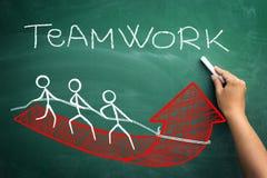 Mit Teamarbeit zum erfolgreichen Geschäft stock abbildung
