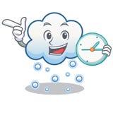 Mit Uhrschneewolken-Charakterkarikatur Stockfotografie
