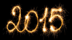 2015 mit Wunderkerzen Lizenzfreie Stockfotos