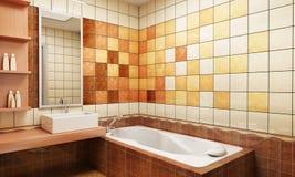 Mit Ziegeln gedeckte Auslegung des Badezimmers Lizenzfreie Stockbilder