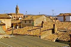 Mit Ziegeln gedeckte Dächer von ländlichen Häusern und die Haube der Kirche stockfotos