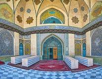 Mit Ziegeln gedeckte Dekors von Schah ` s Moschee in Teheran Lizenzfreie Stockbilder