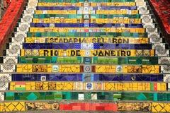 Mit Ziegeln gedeckte Schritte am lapa in Rio de Janeiro Brazil Stockfotos
