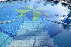 Mit Ziegeln gedeckte Treppe für ein Pool Stockbilder