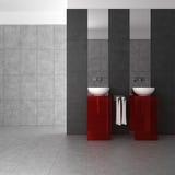 Mit Ziegeln gedecktes Badezimmer mit doppeltem Bassin Stockbild