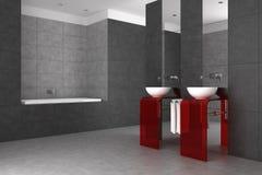 Mit Ziegeln gedecktes Badezimmer mit doppeltem Bassin und Badewanne Lizenzfreie Stockbilder