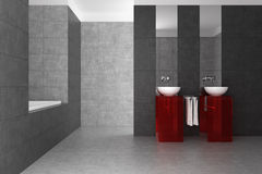 Mit Ziegeln gedecktes Badezimmer mit doppeltem Bassin und Badewanne Stockfoto