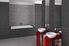 Mit Ziegeln gedecktes Badezimmer mit doppeltem Bassin und Badewanne Lizenzfreies Stockfoto