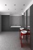 Mit Ziegeln gedecktes Badezimmer mit doppeltem Bassin und Badewanne Stockfotos