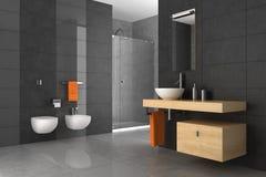 Mit Ziegeln gedecktes Badezimmer mit hölzernen Möbeln Stockbilder
