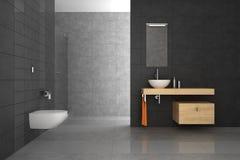 Mit Ziegeln gedecktes Badezimmer mit hölzernen Möbeln Stockfotografie