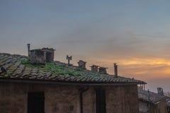 Mit Ziegeln gedecktes Dach des Altbaus am Sonnenunterganglicht Siena, Toskana, Italien Stockfotografie