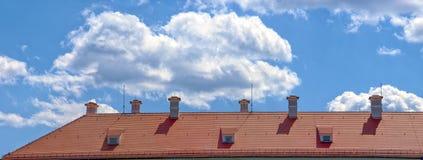 Mit Ziegeln gedecktes Dachpanorama Lizenzfreie Stockfotos