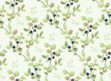Mit Ziegeln gedecktes Muster mit Blaubeerbüschen lizenzfreie abbildung