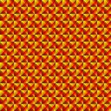 Mit Ziegeln gedecktes Muster von dunklen gelben Rauten und von roten Dreiecken in einer Zickzackpyramide stock abbildung