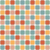 Mit Ziegeln gedecktes nahtloses Muster von gerundeten Quadraten in den Retro- Farben Vektor Abbildung