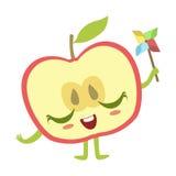 Mitad de Apple con el ejemplo del vector de Emoji del carácter de la comida de Toy Cute Anime Humanized Cartoon del molino de vie Fotos de archivo libres de regalías
