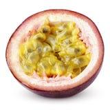 Mitad de la fruta de la pasión aislada en blanco Imagen de archivo