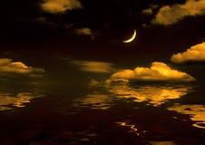 Mitad de la luna reflejada en agua Imágenes de archivo libres de regalías