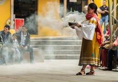 Indigenous dancers of Ecuador stock images