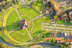 Mitad Del Mundo Quito Drone Aerial Overview. Ciudad Mitad Del Mundo Or Center Of The World City In Quito Ecuador With The Yellow Line Separating South From North Royalty Free Stock Photography