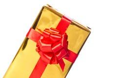 Mitad del rectángulo de regalo de oro Fotos de archivo libres de regalías