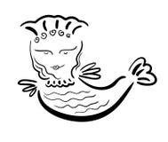 Mitad-pájaro mitológico de la mitad-mujer del pájaro del sirin en contorno negro Imagen de archivo libre de regalías