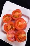 Mitades frescas del tomate Foto de archivo libre de regalías