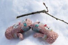 Mitaine se trouvant sur la neige Est tout près une branche de l'arbre Images stock