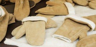 Mitaines en cuir de laine Image libre de droits