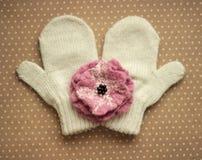 Mitaines et fleur de laine photographie stock