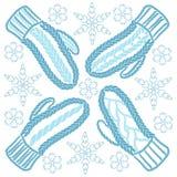 Mitaines et flocons de neige tricotés par bleu Images libres de droits
