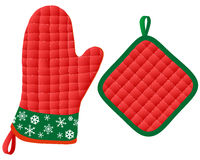 Mitaines et Potholder de four de Noël Images stock