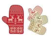 Mitaines folkloriques de type avec des deers illustration stock