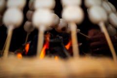 Mitarashi Dango auf Feuer stockfotografie