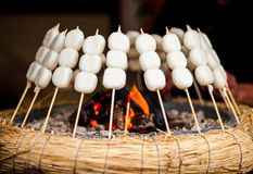 Mitarashi Dango on Fire Stock Photo