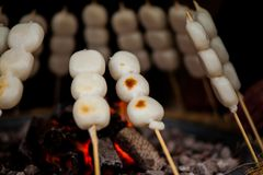 Mitarashi Dango on Fire Stock Photography