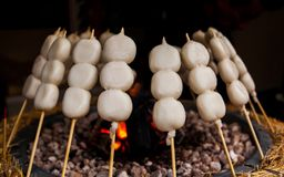 Mitarashi Dango on Fire Stock Photos