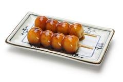 Mitarashi dango, japanese rice dumplings Royalty Free Stock Photography