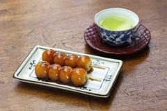 Mitarashi dango, japanese rice dumplings Stock Photos