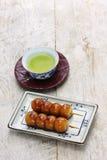 Mitarashi dango, japanese rice dumplings Royalty Free Stock Image