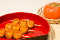 Mitarashi dolce infilza lo gnocco Fotografia Stock