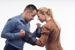 Mitarbeiter in den Boxhandschuhen lizenzfreies stockbild